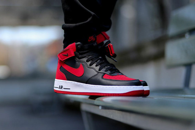 Nike Air Force 1 Mid Black Gym Red 01