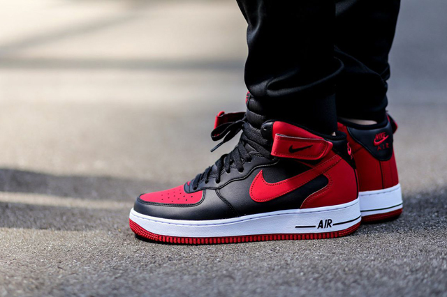 Nike Air Force 1 Mid Black Gym Red 04